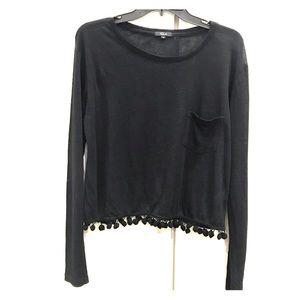 Rails black linen blend top size xs